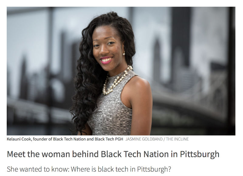 Black Tech Nation founder Kelauni Cook in front of Pittsburgh skyline